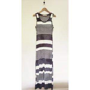 Striped Black Marbled Maxi Tank Dress